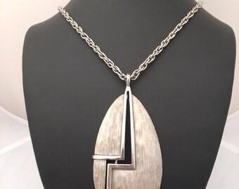 CORO MODERNIST PENDANT Necklace - Brushed Silvertone - Vintage - Signed