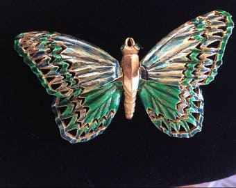 CARLYLE BUTTERFLY TREMBLER  Pin - Vintage - Rare - Green Enamel Butterfly Pin