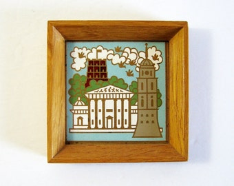Vintage Enamel Brass Plaque - Vilnius Lithuania Souvenir - Architecture Art - City Square Wall Decor - Vintage Framed Art - Folk Art Decor