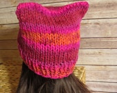 Bright Pink Pussy Hat - READY TO SHIP - Chunky Knit Cat Hat - Pussy Hat Project - Woman's Rights - Knit Winter Hat - Woman's Day