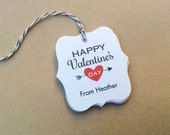 Personalized Valentines Day favor tags - Happy Valentine's Day tags - Heart Arrow gift Tag - Personalized Treat Tags TH-36