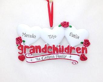 FREE SHIPPING 3 Grandchildren Personalized Christmas Ornament / Grandparents Ornament / Grandmother Ornament / Grandfather Ornament