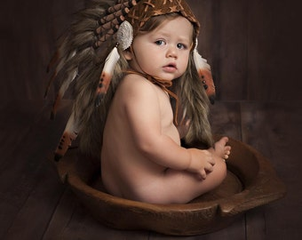 PRICE REDUCED - N12- For 9 to 18 month Toddler / Baby: brown Headdress for the little ones !,