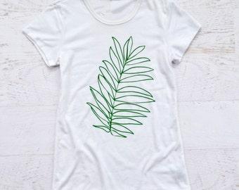 Palm Leaf Women's Tee - White
