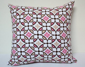 """Flower pillow - 16""""x16"""" pink flower pillow cover. Modern Home decor, flower pillow, kids pillows, baby shower gift, girls pillow cover"""