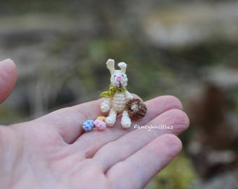 Easter bunny with basket and eggs miniature crochet doll 1/12 scale Easter decor dollhouse collectable tiny easter rabbit light yellow