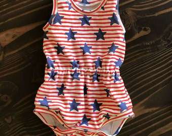 4th of July Stars and Stripes Shortie Romper in Organic Cotton for Babies and Kids