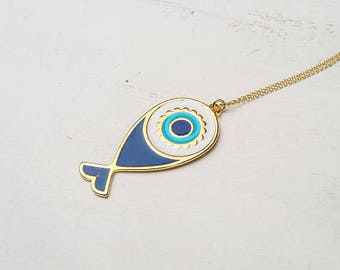 Large Evil Eye Fish Necklace Tassel Necklace Enamel Fish Necklace Summer Layering necklace Rose Gold Gold Necklace Birthday gift