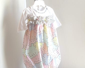 Baby NB Girl Gown, Baby Dress, Pastels, Take Home Outfit, Baby Girl Clothes.
