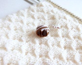 Dark Chocolate Truffle Charm - Stitch Marker - Progress Keeper - Zipper Pull - Bracelet or Planner Charm - READY TO SHIP