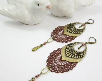 "Earrings ""L'orientale"" brass, brown lace and cristal beads"