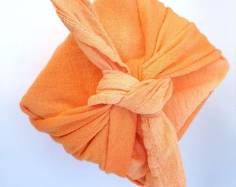 Furoshiki Wrapping Paper, Zero Waste,Apron,Belt,Body Wrap,Bandanna,Tie Dye Tea towels,Hand Dyed Dishtowel,Orange,Spring,Shibori,Japanese