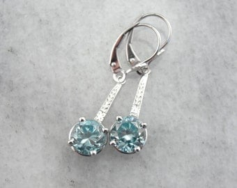 Bridal Blue Zircon Drop Earrings with Lovely Engraved Accents A9V8KH-R