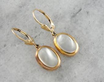 Moonstone Drop Earrings, Classic Moonstone Earrings, Simple Moonstone Drops, Yellow Gold Earrings JAE25P-N