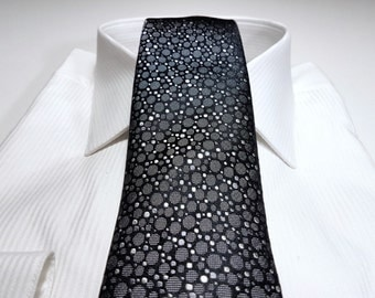 Silk Tie in Random Dots with Charcoal Grey Silver on Black