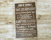 Custom Family Mission Statement Sign - Christian Family Rules - Family Purpose - Family Wall Art