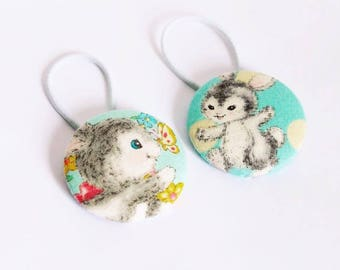Adorable Easter Bunny Rabbit Fabric Button Hair Tie Set