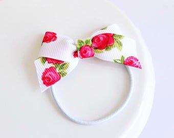 Rose Ribbon Bow Elastic Hair Tie