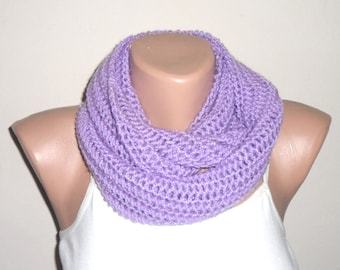 lilac knit infinity scarf purple circle scarf loop scarf winter scarf womans accessories gift for her