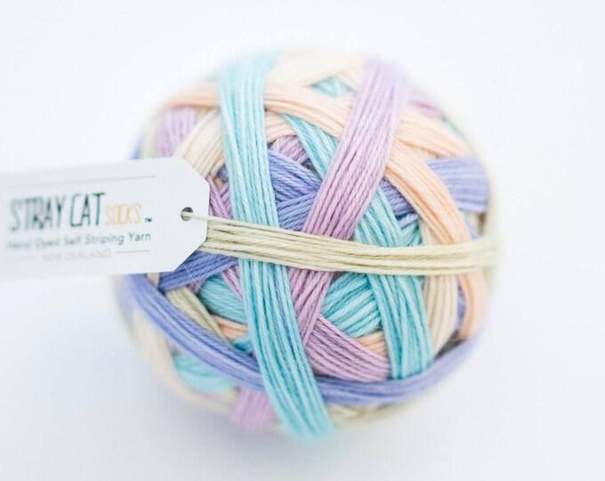 Sweetpea - vibrant hand dyed self striping sock yarn