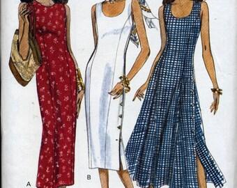 Longer sleeveless sheath dress or dress with flared skirt pattern, Vogue Easy Options 8627, Misses Sizes 12, 14, 16