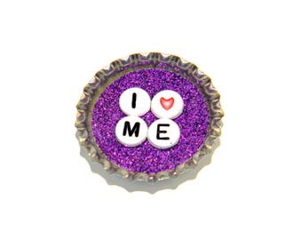 NEW Bottle Cap Magnet - I Heart Me - Single Magnet