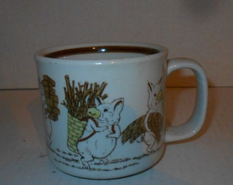 The Three Little Pigs vs. The Big Bad Wolf Vintage Stoneware Mug