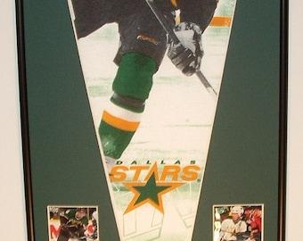 Dallas Stars Hockey Player Pennant Mike Modano & Cards Retrospective...Custom Framed!!!