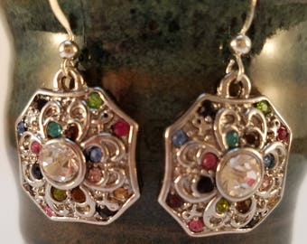 Multi Color silver medallion earrings