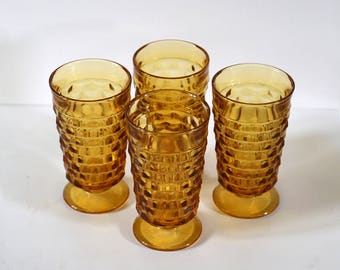 Vintage Amber Glasses, Set of 4, American Whitehall Pattern, Indiana Glass, Yellow Orange, Geometric Pattern, Glassware, Footed Glass, Water