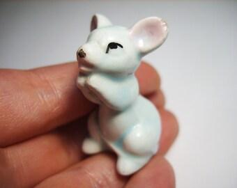 Mouse Porcelain figurine, vintage rat sculpture old