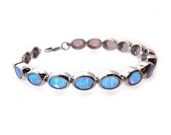 Vibrant Blue Opal Bracelet, Handmade in 925 Silver with AAA Cultured Opals