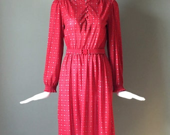 Gorg Vtg 70s Red Print Long Sleeve Dress Matching Stretchy Belt S Excellent Ready To Wear Condition