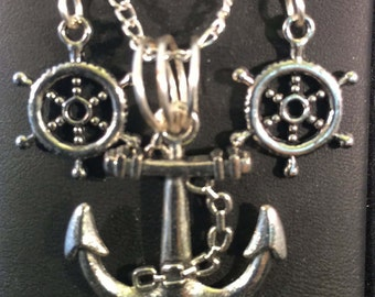 Necklace and Earring Set - Anchor and Freshwater Pearl Necklace and Ships Wheel Earring Set - FREE SHIPPING