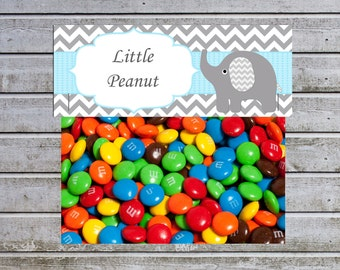 Treat Bag Toppers Candy Bag Toppers Favor Bags Toppers Printable Elephant Baby Shower Blue Gray (49o) - Little Peanut - Instant Download