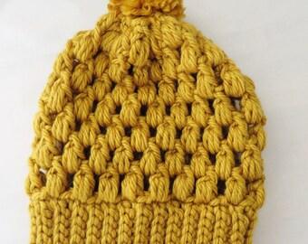Puff Stitch Slouchy Hat - Mustard