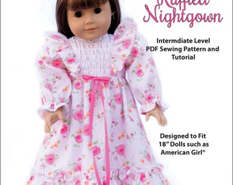 Pixie Faire My Angie Girl Ruffled Nightgown Doll Clothes Pattern for 18 inch American Girl Dolls - PDF