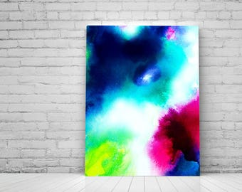 Colorful Abstract Fine Art Print Blue Ink Painting Atmosphere Home Decor Blue Cloudy Sky Pink Atmosphere