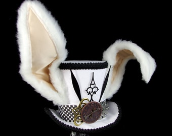 The White Rabbit –Black and White Clockwork Bunny Eared Large Mini Top Hat, Alice in Wonderland Mad Hatter Tea Party