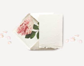 Handmade Paper Envelopes Deckled Edge Paper Cards Floral Envelope Liners Pink Peony Invitations DIY Printable Wedding Invitation