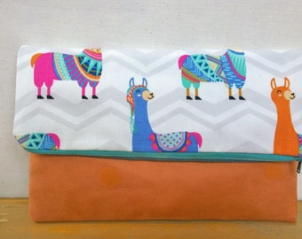 Llamas Foldover Suede Clutch - Orange / Magnetic Snap / Upcycled Repurposed Suede