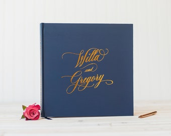 Wedding Guest Book Real Copper Foil wedding guestbook personalized wedding photo album navy and copper guest sign in book photo guest book