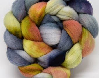 merino wool roving, combed top, top, spinning fiber, spinning fibre, felting wool, felt, kettle dyed. hand painted roving, hand dyed roving