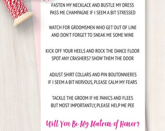 Printable Will You be My Matron of Honor Card - Will You Be My Matron of Honor Invitation - Funny Will You Be My Bridesmaid -Bridesmaid Poem