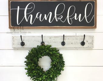 Thankful Painted Wood Sign - Give thanks sign - Distressed Rustic Antiqued sign - Rustic Home Decor - Wall Decor - Welcome to our nest