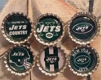 Six New York Jets Magnets on Silver Bottle Caps