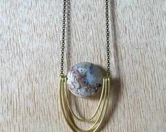 Handmade Brass Pendant Necklace African White Opal 3 Ring Saturn