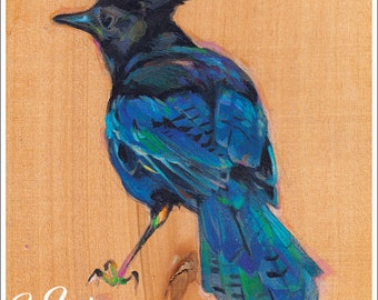 Print or Note Card: Steller's Jay on Wood
