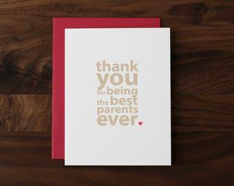 Thank You Card for Parents - Best Parents Ever - Wedding Thank You, Anniversary or Valentine Card for Parents - 094 - by allotria