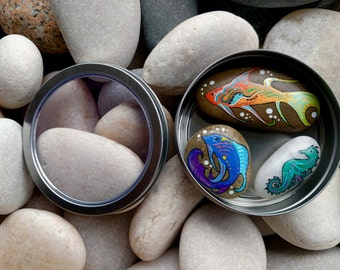 Sea Creatures Magnet Set/Pebble Magnets/Painted Stone Magnets/Fish/Seahorse